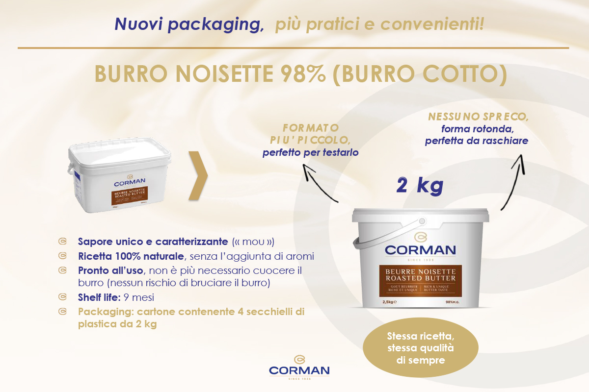 Nuovo packaging per il BURRO NOISETTE Corman