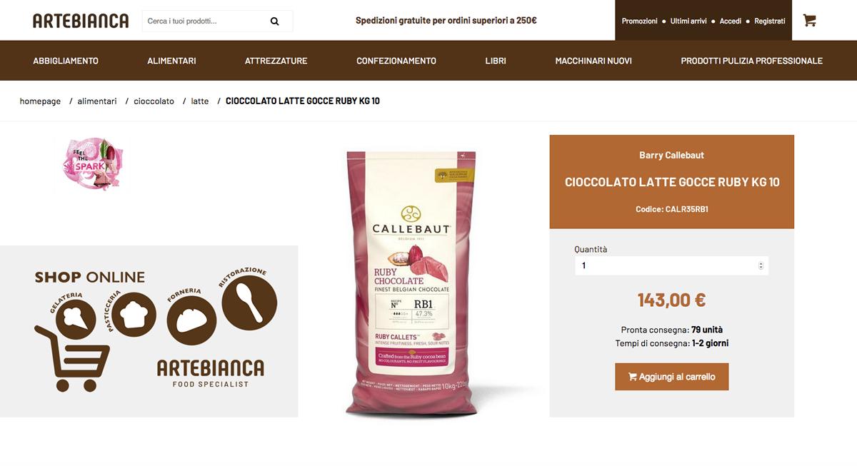 schermata prodotto shop online Artebianca