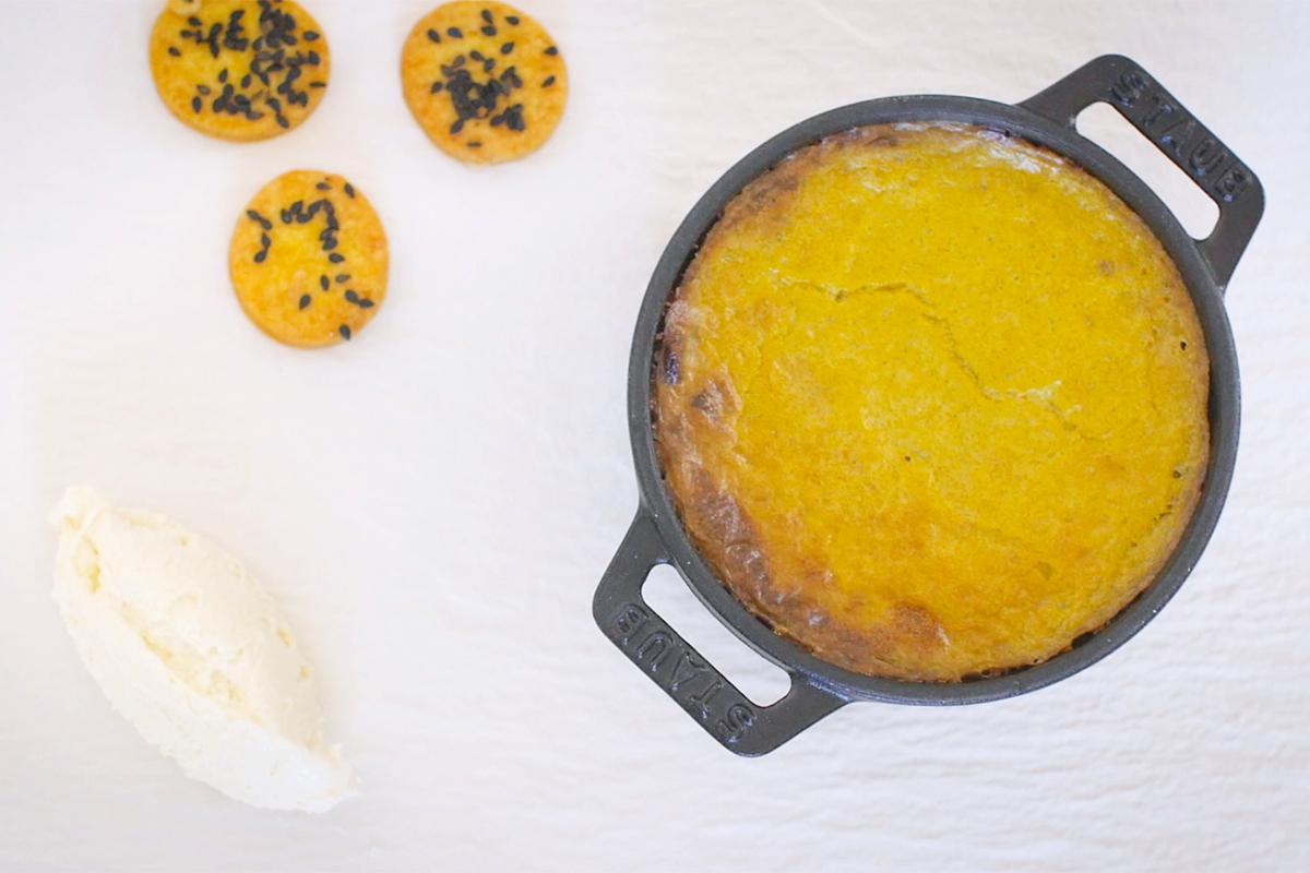 Sformato di Carciofi con Salsa Pomodoretto e Biscotto al Bagòss