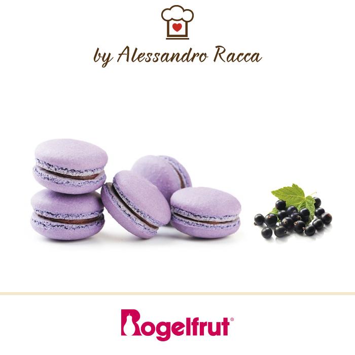 Macaron al ribes nero Rogelfrut e cioccolato 72%