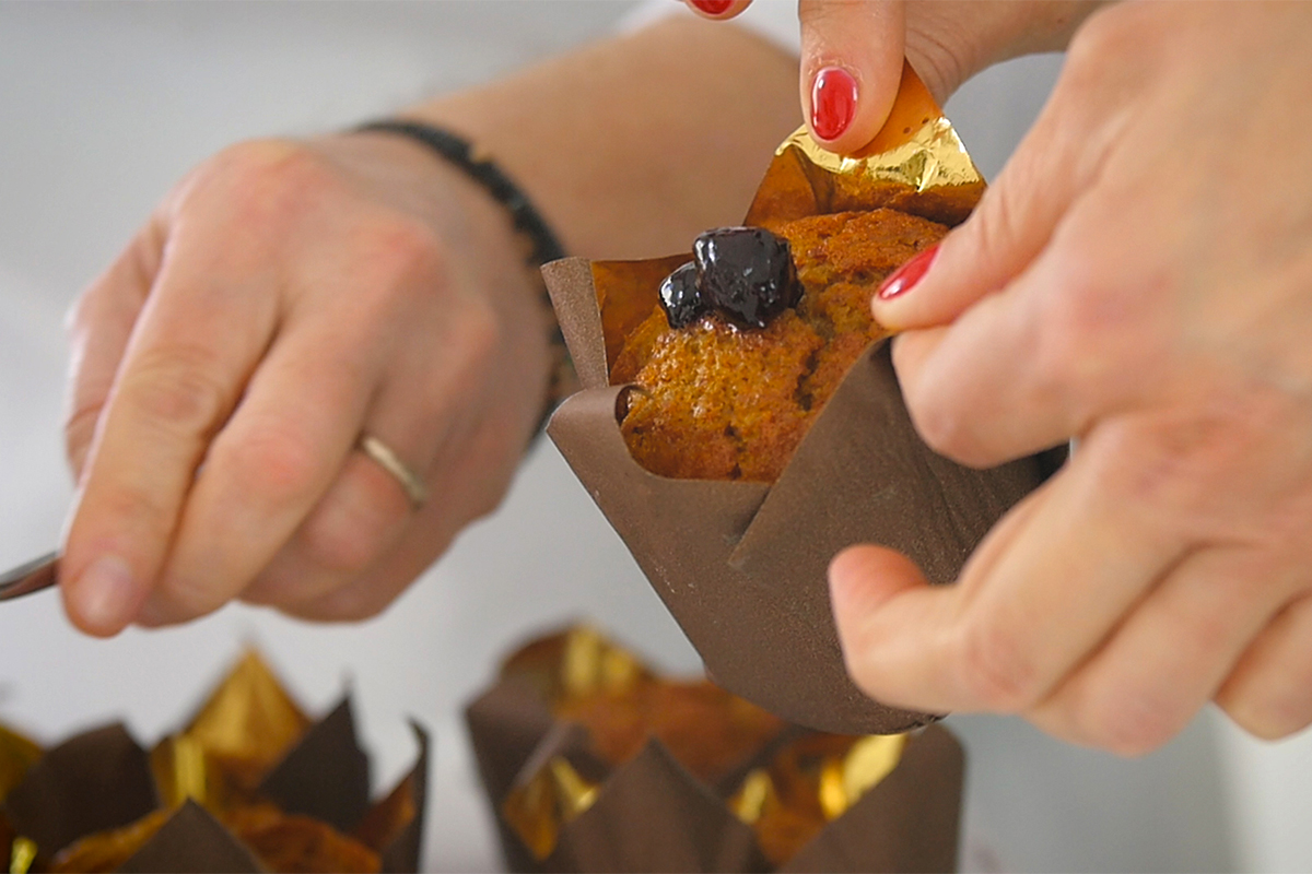 Muffin alle Amarene, Noci e Carote